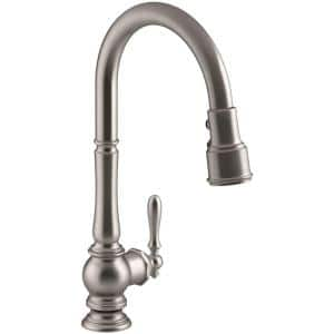 Artifacts Single-Handle Pull-Down Sprayer Kitchen Faucet in Vibrant Stainless