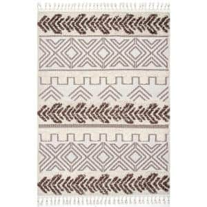 Zuri Shaggy Banded Tribal Brown 8 ft. x 10 ft. Area Rug