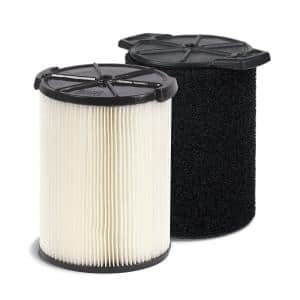 Standard Pleated Paper Filter and Wet Application Foam Filter for Most 5 Gal. and Larger RIDGID Wet/Dry Shop Vacuums