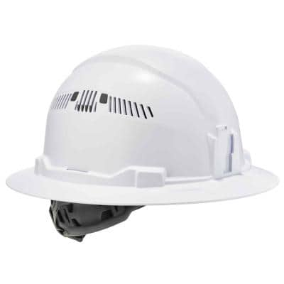 Sullerz White Class C Hard Hat Full Brim Vented Ratchet Suspension