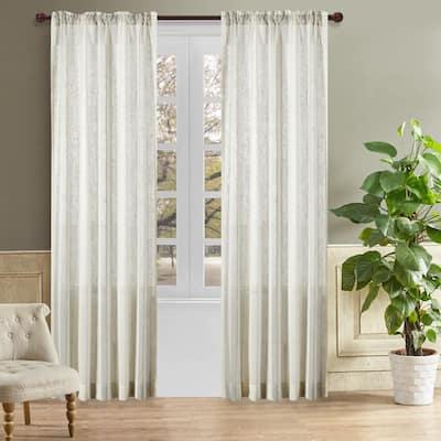 Gloria 98 in.L x 50 in. W Sheer Polyester Curtain in Lake Blue