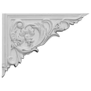5/8 in. x 8-5/8 in. x 6-1/4 in. Polyurethane Right Flower Stair Bracket Moulding