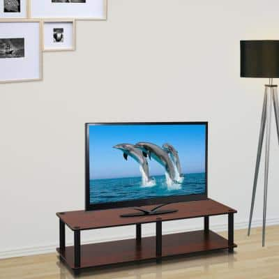 Just No Tools 41 in. Dark Cherry Particle Board TV Stand Fits TVs Up to 40 in. with Open Storage