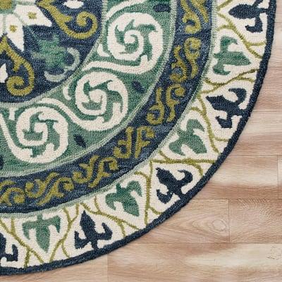 Vibrance Blue/Green 5 ft. Round Geometric Medallion Wool Area Rug