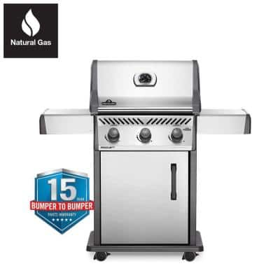 Rogue 3-Burner Natural Gas Grill in Stainless Steel
