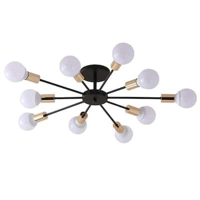 39.4 in. 10-Light Black Indoor Industrial Semi-Flush Mount Sputnik Ceiling Lighting