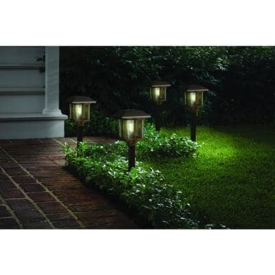 10 Lumens Solar 2-Tone Bronze and Warm Wood LED Landscape Pathway Light Set (4-Pack)