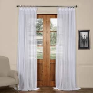Aspen White Solid Rod Pocket Sheer Curtain - 50 in. W x 96 in. L