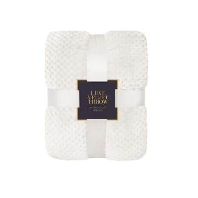 Ivory Polyester Throw Blanket