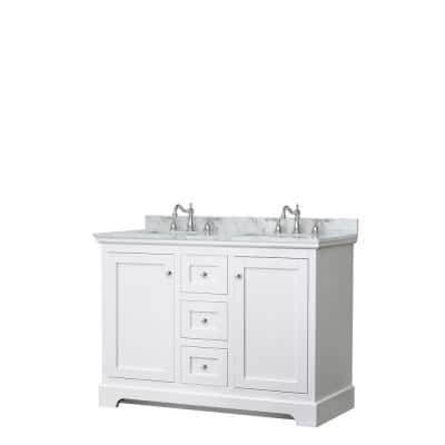 Avery 48 in. W x 22 in. D Double Vanity in White with Marble Vanity Top in White Carrara with Oval Basins