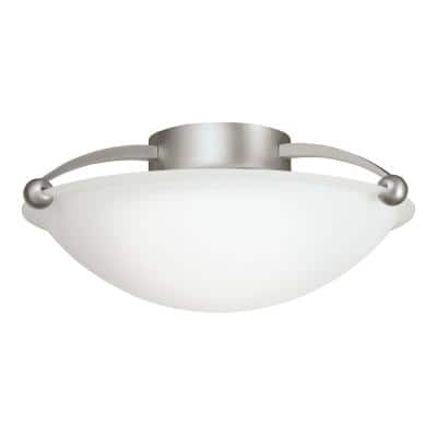 Independence 2-Light Brushed Nickel Semi-Flush Mount Ceiling Light with Etched Glass