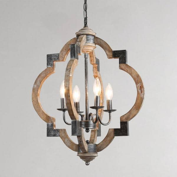 Lnc 20 In 4 Light Rustic Weathered, Home Depot Chandeliers Modern Farmhouse