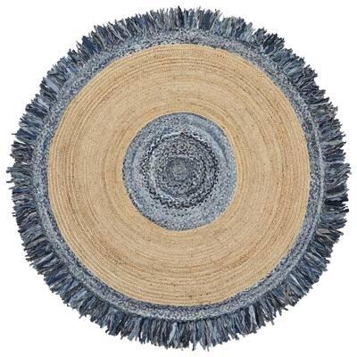 Blue Jeans Denim/Hemp 6 ft. x 6 ft. Round Area Rug