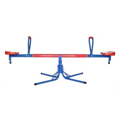Outdoor Red and Blue Metal Rotating Seesaw