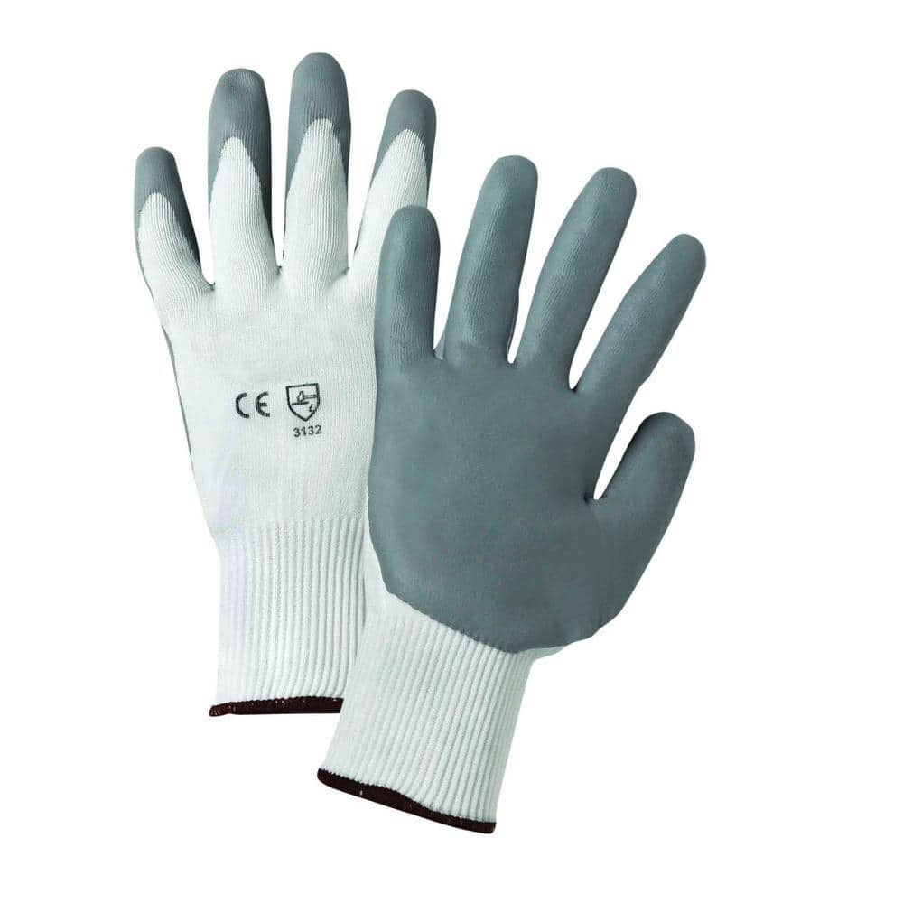 West Chester Medium Gray Lunar Foam Nitrile Palm Dip On White Nylon Shell Dozen Pair Gloves 715snflw M The Home Depot