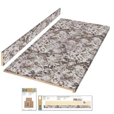6 ft. White Laminate Countertop Kit with Full Wrap Ogee Edge in Bianco Antico Etchings