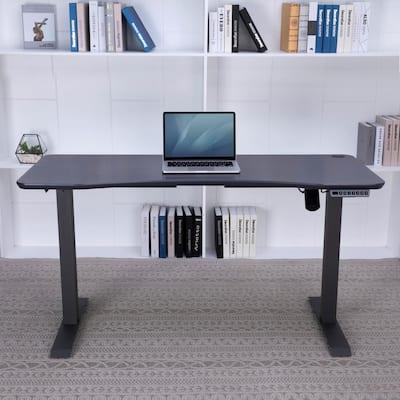 55 in. Rectangular Ink Stone Gray Standing Desks with Adjustable Height
