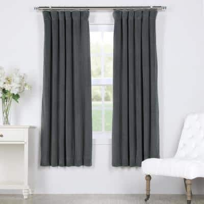 Natural Grey Rod Pocket Blackout Curtain - 50 in. W x 63 in. L