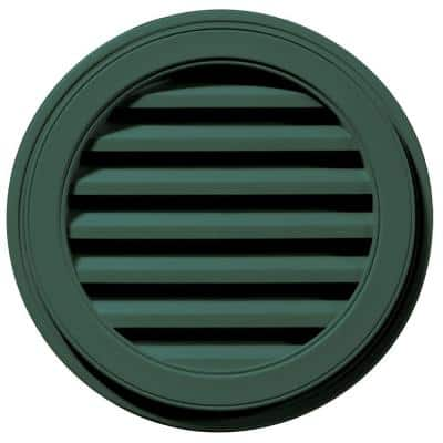 22 in. x 22 in. Round Green Plastic Built-in Screen Gable Louver Vent