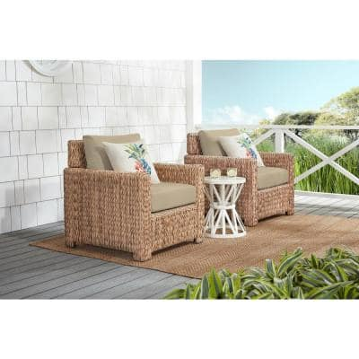 Laguna Point Natural Tan Wicker Outdoor Patio Stationary Lounge Chair with CushionGuard Putty Tan Cushions (2-Pack)