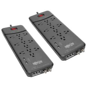 Protect It 8 ft. 12-Outlet Surge Protector with 2 USB Ports 2-Pack