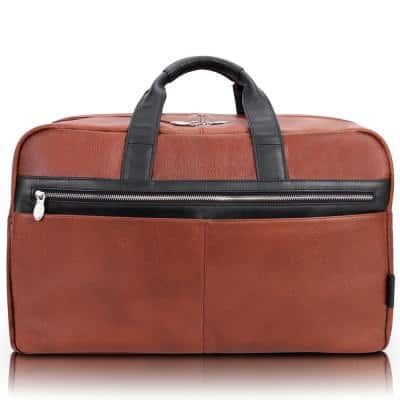 McKlein Wellington, 21 in. Brown Pebble Grain Calfskin Leather Laptop and Tablet Carry-All Duffel
