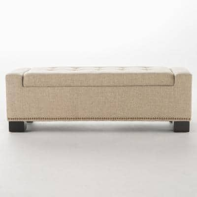 Explorer Wheat Beige Fabric Storage Bench with Studs