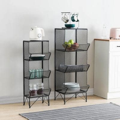 3-Tiered Black Metal Wire Mesh Baskets with Legs (Set of 2)