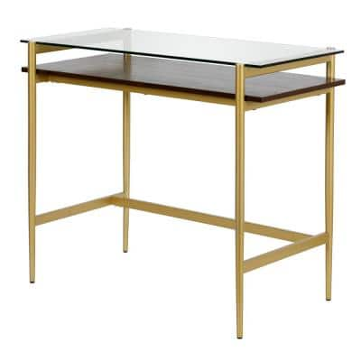 Eaton 36 in. Rectangular Brass Metal and Glass Writing Desk with Walnut Shelf