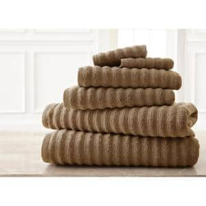 Wavy Luxury Spa Collection 6-Piece Quick Dry Towel Set Taupe