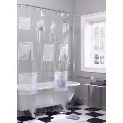 70 in. x 72 in. Clear Mesh Pocket Quick Dry Peva Shower Curtain or Liner