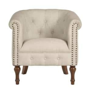 Whitley Walnut Beige Wood Accent Chair with Nailheads and Tufting (32.09 in. W x 30.71 in. H)