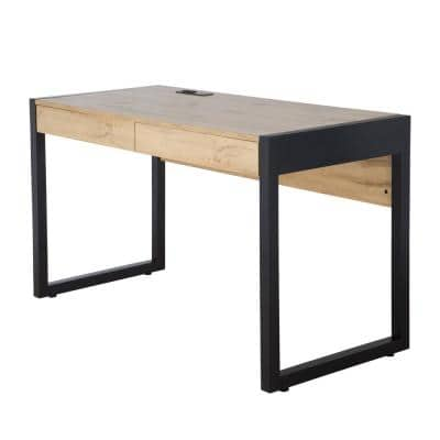 52 in. W Two-Tone Writing Desk with 2-Drawers Power Center and USB Ports in Beige Oak and Black