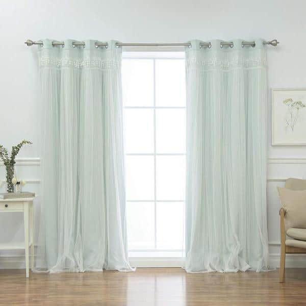 Best Home Fashion Mint Fringed Border Solid Grommet Room Darkening Curtain 52 In W X 84 In L Set Of 2 Grom Bo Elis 84 Mint The Home Depot