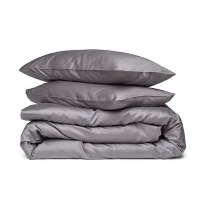 A1HC GOTS Certified Organic Cotton,Sateen Weave, 300TC, Single Ply, 3-Piece Dark Grey King Duvet Set