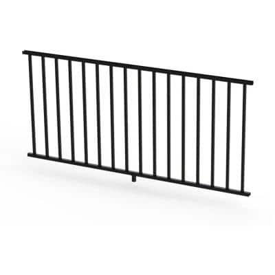 Satin Black 36 in. Aluminum Panel Rail Kit with Square Balusters and Brackets