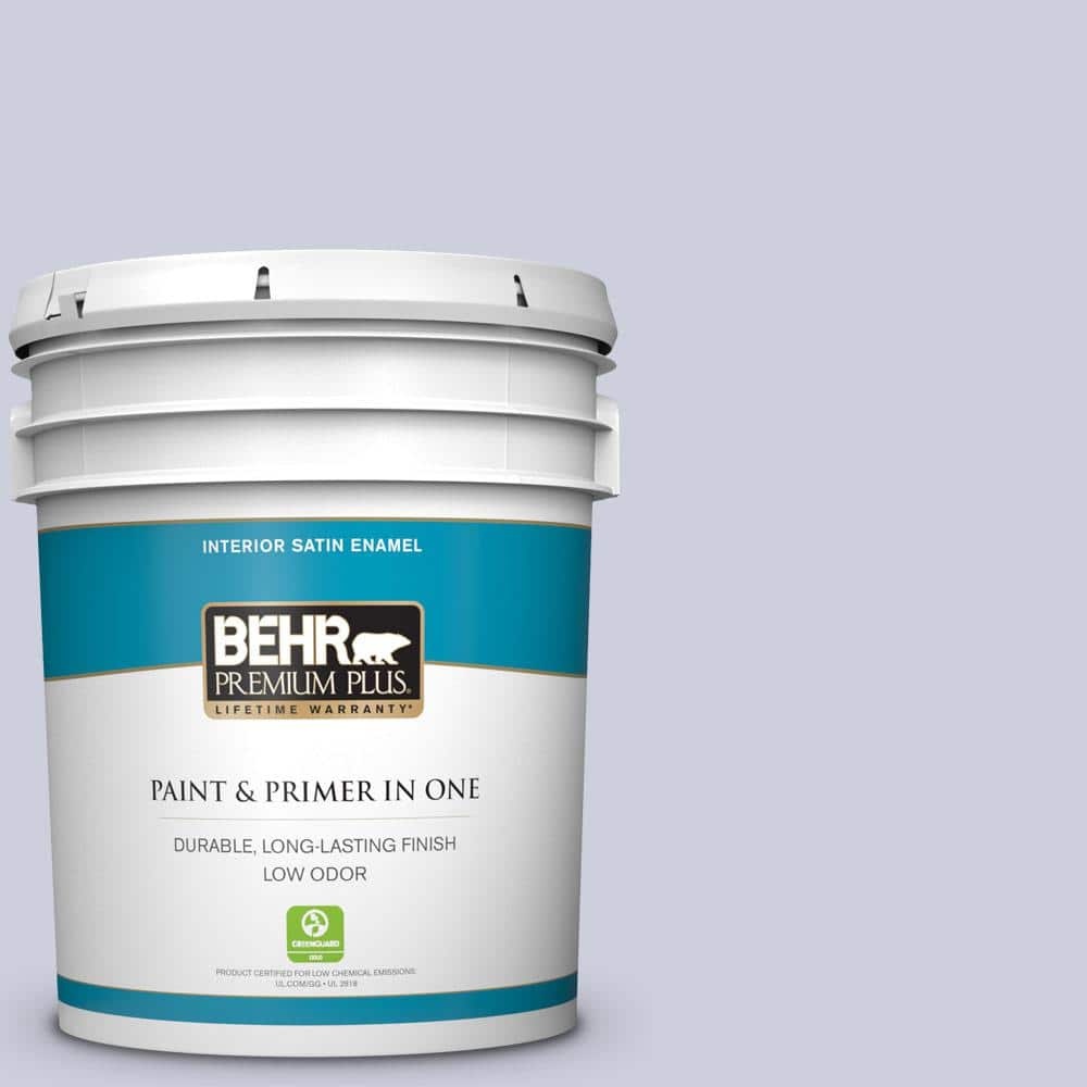 Behr Premium Plus 5 Gal 640e 3 Simplicity Satin Enamel Low Odor Interior Paint And Primer In One 705005 The Home Depot