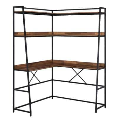 Mifford 47.25 in. Matte Black Coating and Brown Writing Desk