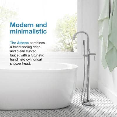 Athena Single-Handle Floor-Mounted Roman Tub Faucet with Hand Shower in Brushed Nickel