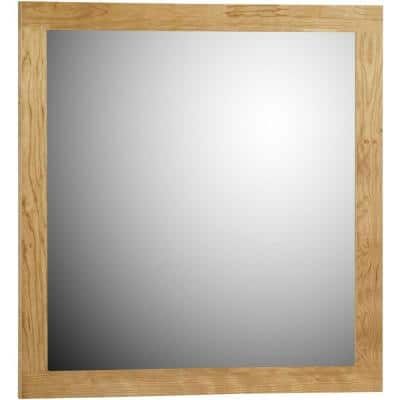 Shaker 30 in. W x 32 in. H Framed Rectangular Bathroom Vanity Mirror in natural alder