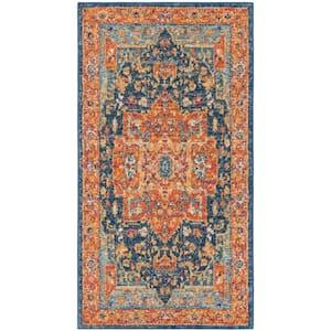 Evoke Blue/Orange 2 ft. x 4 ft. Area Rug