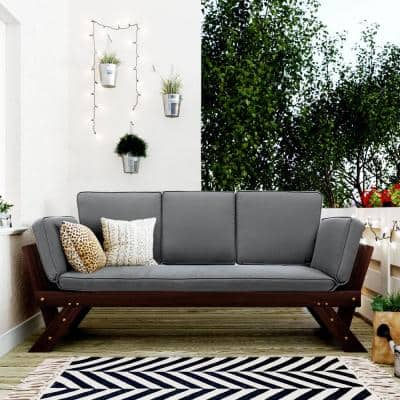 Acacia Brown Wood Outdoor Couch with Gray Cushions