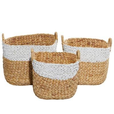 15.60 in., 14.95 in. and 13.45 in. Brown Natural Water Hyacinth Storage Basket (Set of 3)