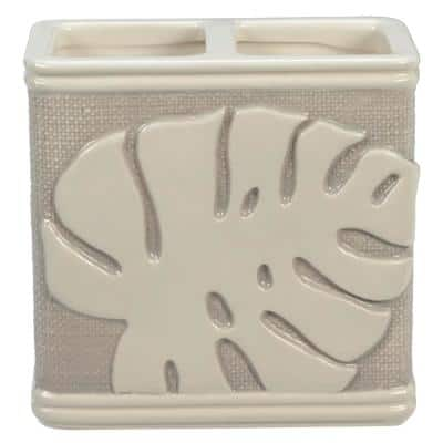 Tropical Leaves Toothbrush Holder in Gray