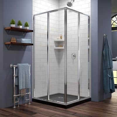 Cornerview 36 in. x 74-3/4 in. Framed Shower Enclosure in Chrome with Base in Black