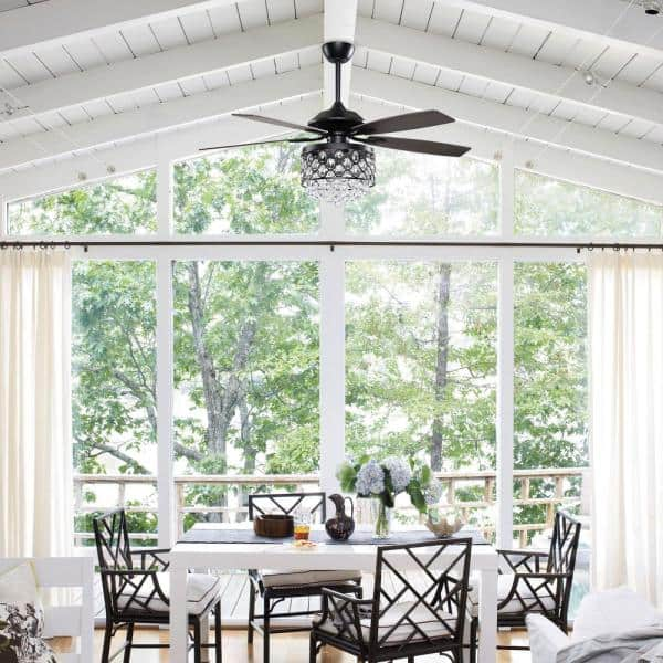 Parrot Uncle Berkshire 52 In Indoor Black Downrod Mount Crystal Chandelier Ceiling Fan With Light And Remote Control F6218bk110v The Home Depot