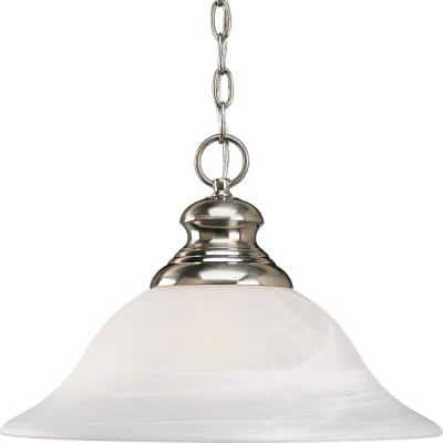 Bedford Collection 1-Light Brushed Nickel Pendant with Alabaster Glass
