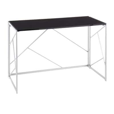 Folia 45 in. Silver Metal and Black Wood Office Desk