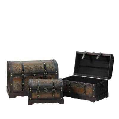 22.5 in. Decorative Antique Brown Wood and Faux Snakeskin Storage Boxes (Set of 3)