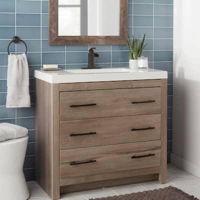 Leary Curve Single Hole Single-Handle Bathroom Faucet in Bronze